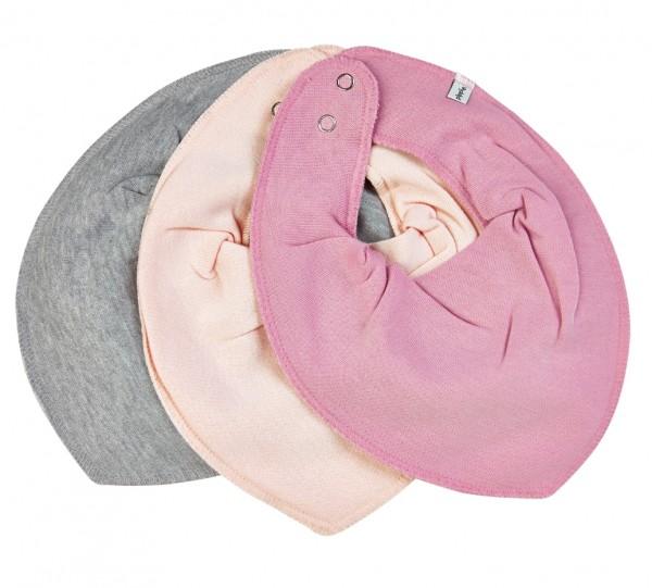Pippi Halstücher 3er Set uni rosa/grau/hellrosa