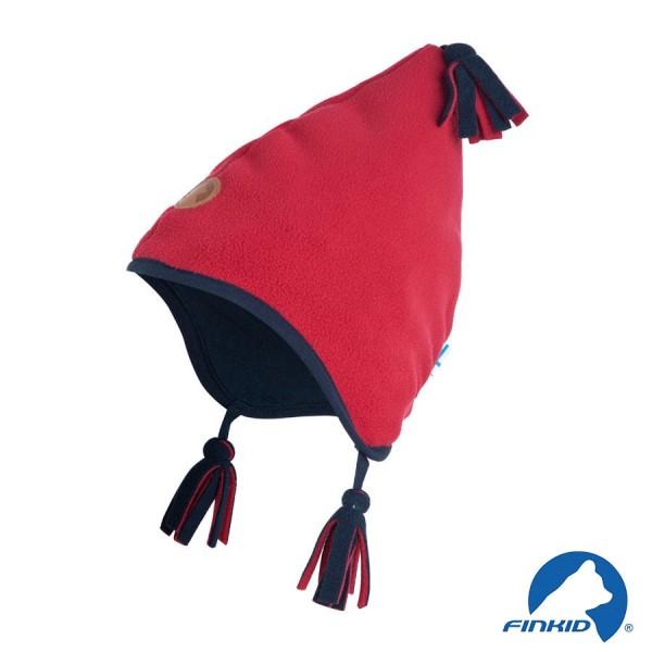 Finkid Pipo red / navy Winter Fleecemütze mit Baumwollfutter