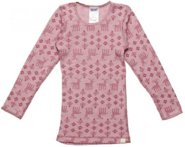 Celavi Unterhemd rosa melange mit Elchen Langarm Merino Schurwolle Ökotex100
