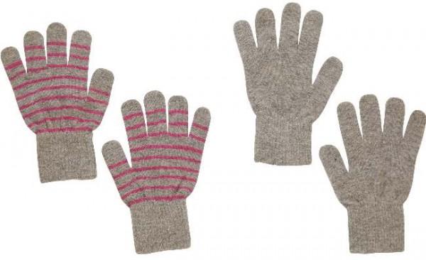 Celavi Wollhandschuhe hellgrau/pink geringelt Doppelpack 2 Paar Fingerhandschuhe