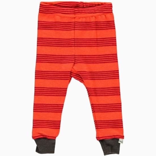 Celavi Legins lange Unterhose orange-rot geringelt Schurwolle Merino