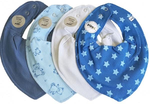 Pippi Baby Dreieckstücher blue Star + Bärchen 4er Set
