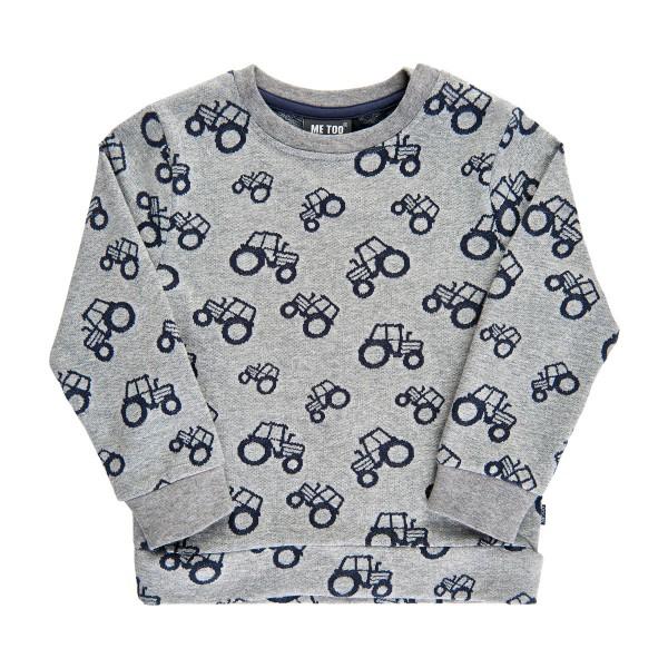 MeToo Kinder Traktor Sweatshirt Pulli hellgrau
