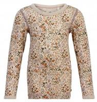 Celavi Mädchen Wollshirt Herbstblumen Langarmshirt