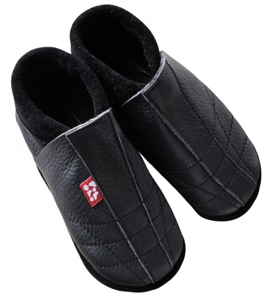 Pololo Soccer Leder Hausschuhe schwarz