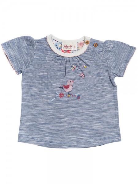 Mädchen Sommer T-Shirt Vögelchen blau gestreift Kurzarm