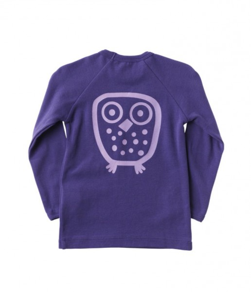 Ej sikke lej Basic Langarmshirt Big Owl Eule gentian violett uni
