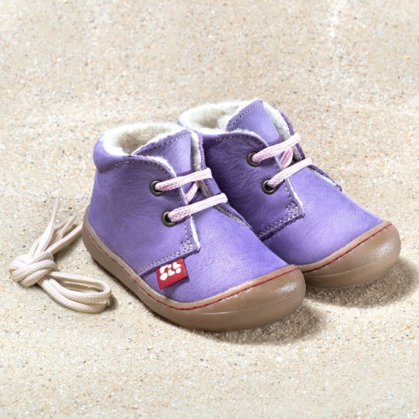 Pololo Juan lilac Winter Lauflernschuhe mit Wollfutter extra weiche Sohle