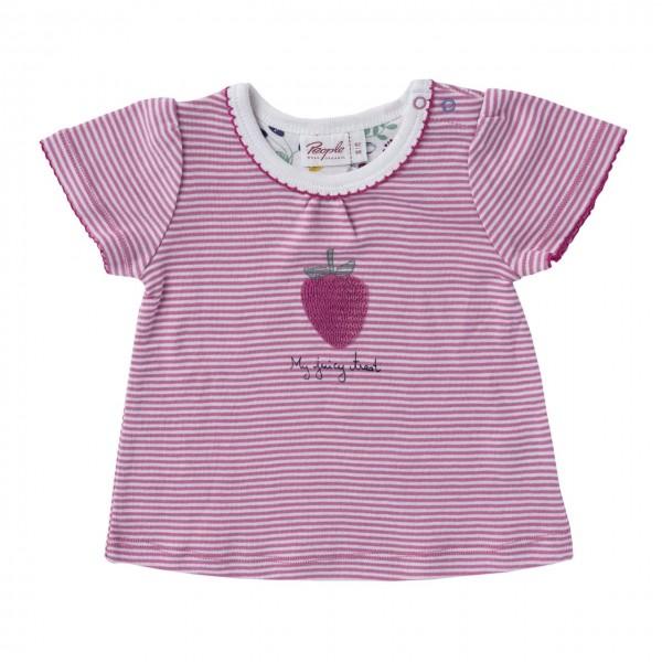 Mädchen T-Shirt Erdbeere rosa/weiß geringelt Bio Baumwolle