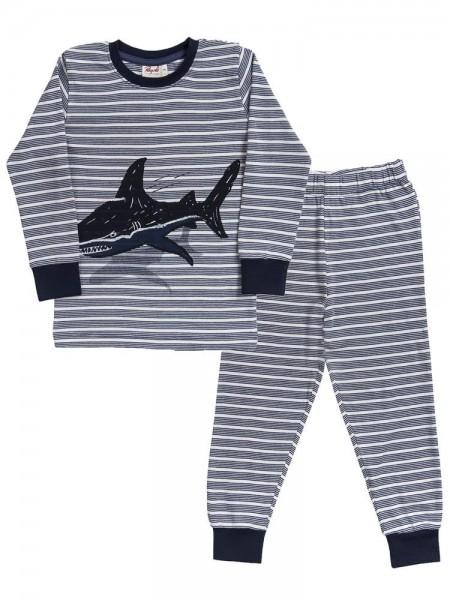 Jungen Schlafanzug HAI Pyjama Streifen Bio-Baumwolle