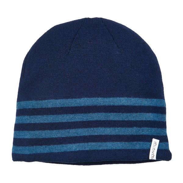 Minymo Kinder Wintermütze Wolle blau mit Blockstreifen LAS61