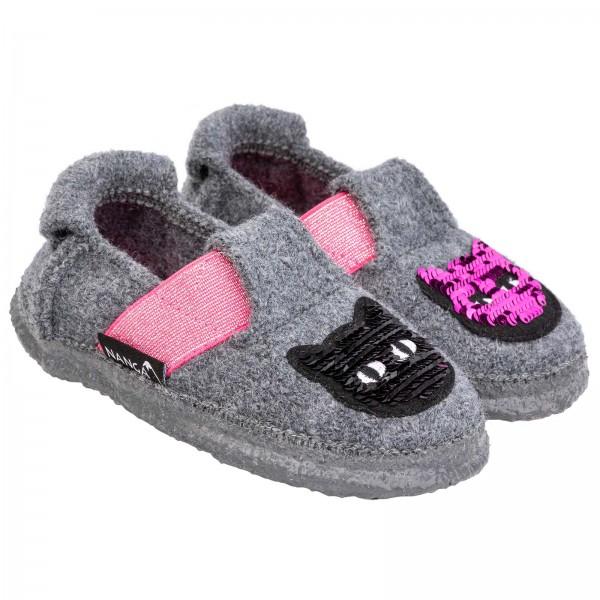 Nanga Hausschuhe Fancykitty grau / pink Schurwolle