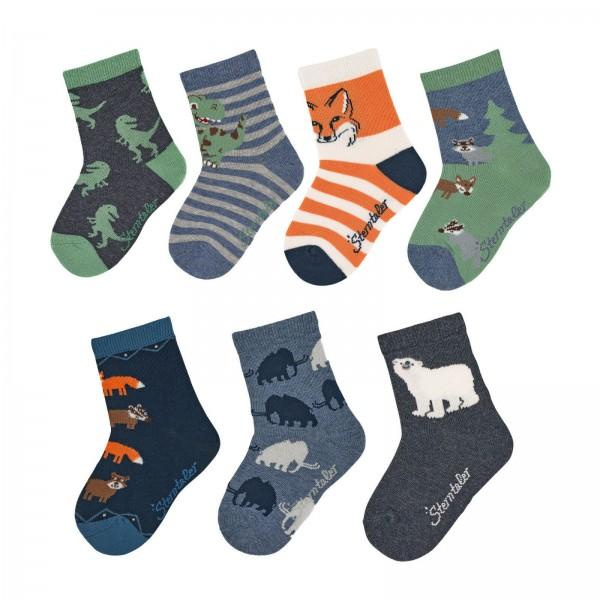 Sterntaler Söckchen 7 Paar Socken Dino + Waldtiere in Geschenkbox
