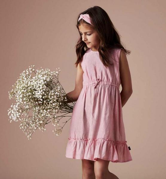 Creamie Mädchenkleid rosa mit Silberstreifen