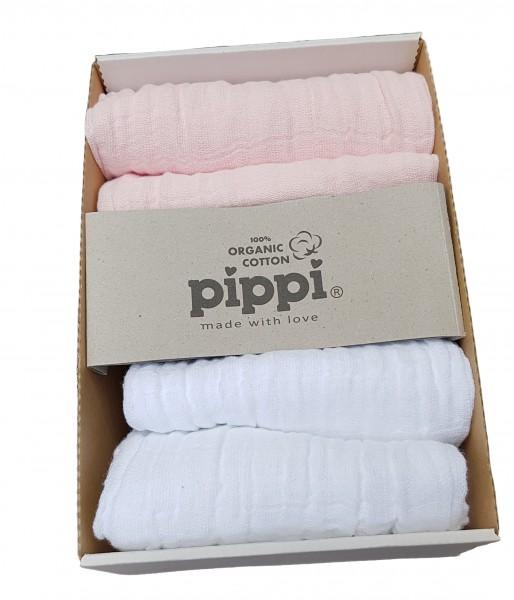 Pippi Mulltücher 4er Pack hellrosa/weiß Organic Baumwolle