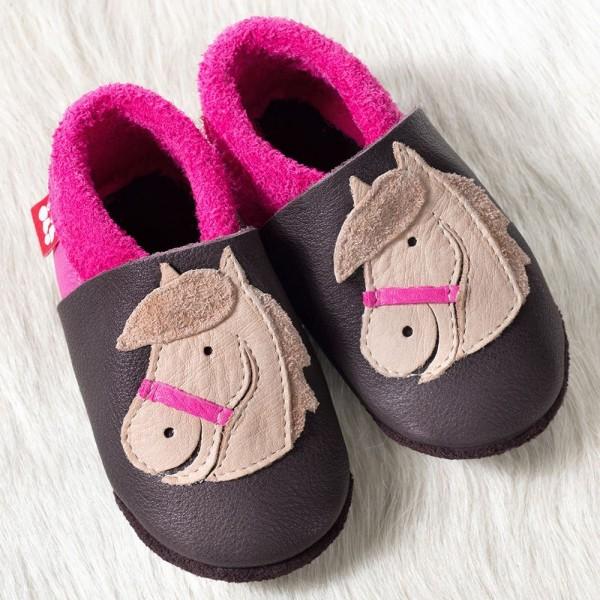 Pololo Mädchen Hausschuhe Pferd Polly braun/pink