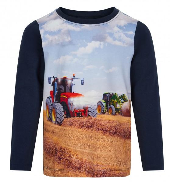 Minymo Traktor Langarmshirt blau/rot Shirt
