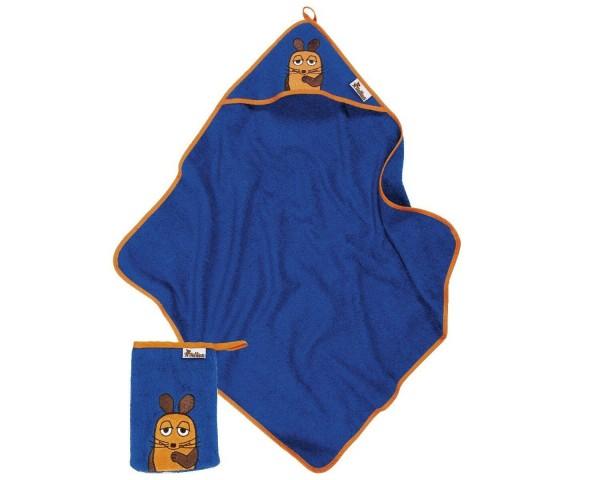 Geschenkset DIE MAUS blau Kapuzen Badetuch + Waschhandschuh Ökotex100