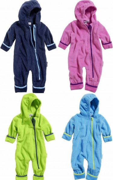 Baby Fleece-Overall mit Kontrastpaspel