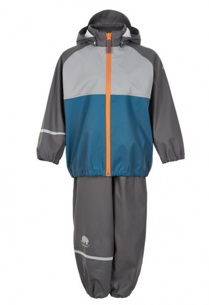 CeLaVi Jungen Regenanzug graphit/vallerta blau Set Regenhose + Regenjacke