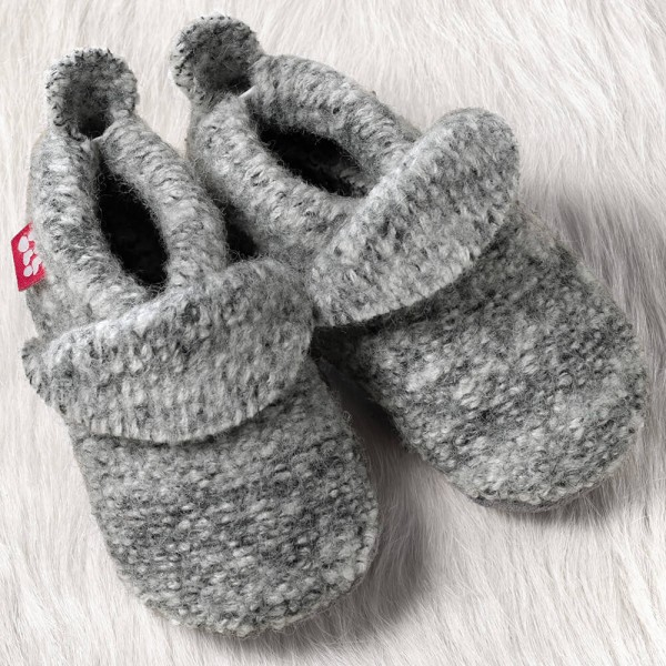 Pololo Kinder Hausschuhe Wollwalk tweed hellgrau melange