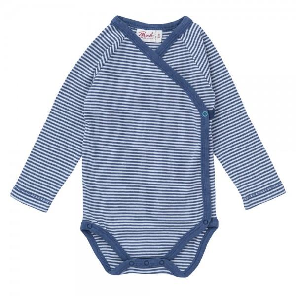 Wickelbody Langarm blau/weiß gestreift Body Bio-Baumwolle