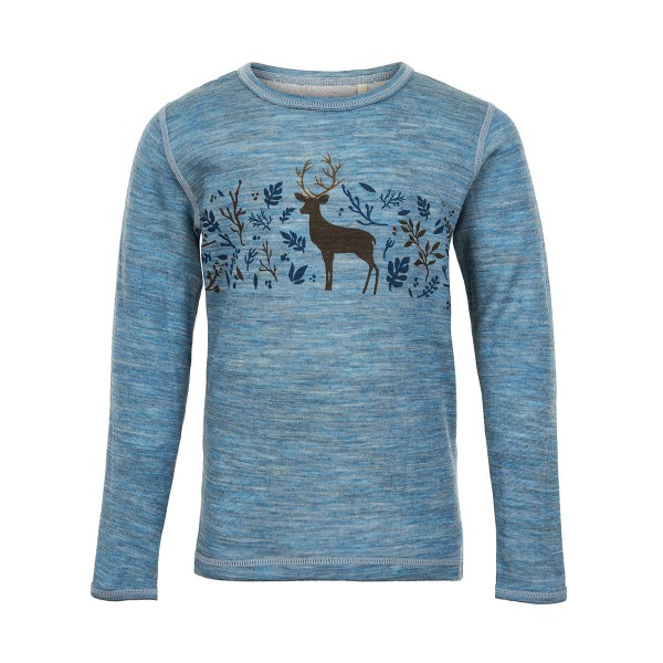 Celavi Langarmshirt blau melange Hirsch Merinowolle mit Bambus