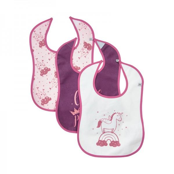 Pippi 3er Pack Frottee Lätzchen pink Mix mit Klettverschluß
