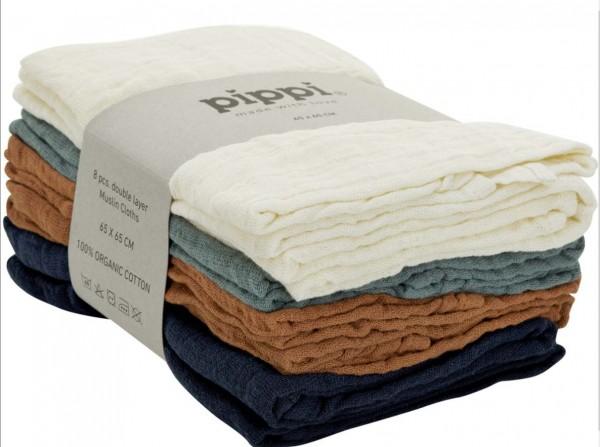 Pippi Babywear Mulltücher 8er Pack Organic Biobaumwolle