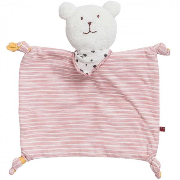 People wear Organic Schmusetuch Bär rosa geringelt