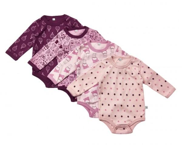 Pippi Langarm Body Kätzchen & Balloons lila/rosa 4er Pack Baumwolle