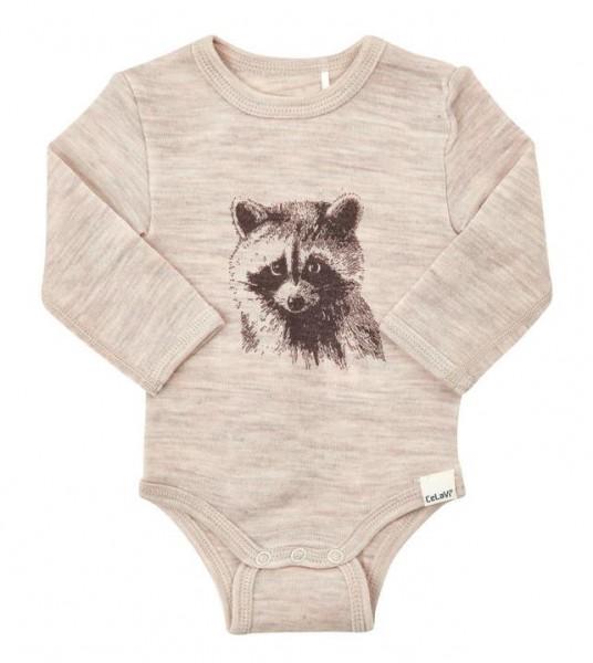Celavi Baby Wollbody Waschbär sandbeige