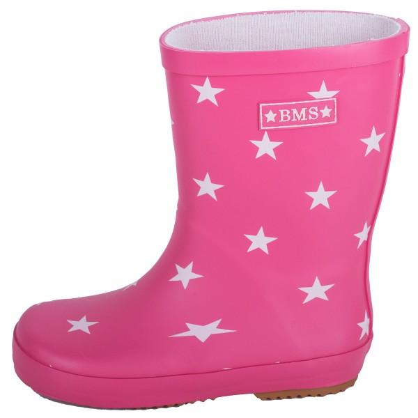 BMS Kinder Gummistiefel aus Kautschuk pink mit Sternen
