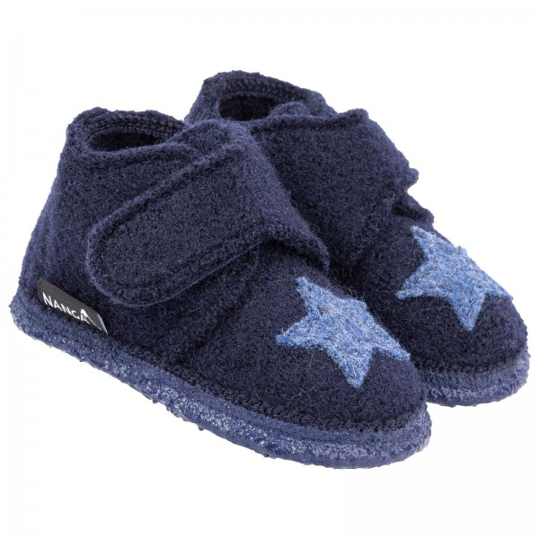 Nanga Kinder Hausschuhe Stern dunkelblau Schurwolle