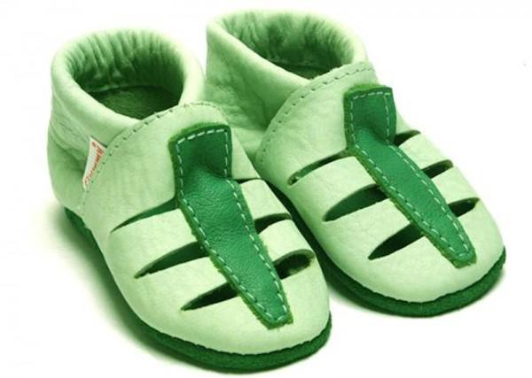 FLUMMY Aero grün Hausschuhe Ökoleder Krabbelschuhe