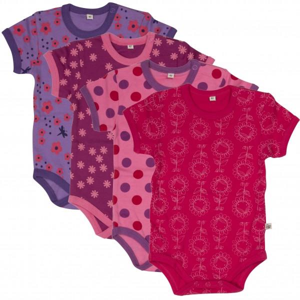 Pippi Kurzarm Body pink Dots & Blümchen 4er Pack Baumwolle