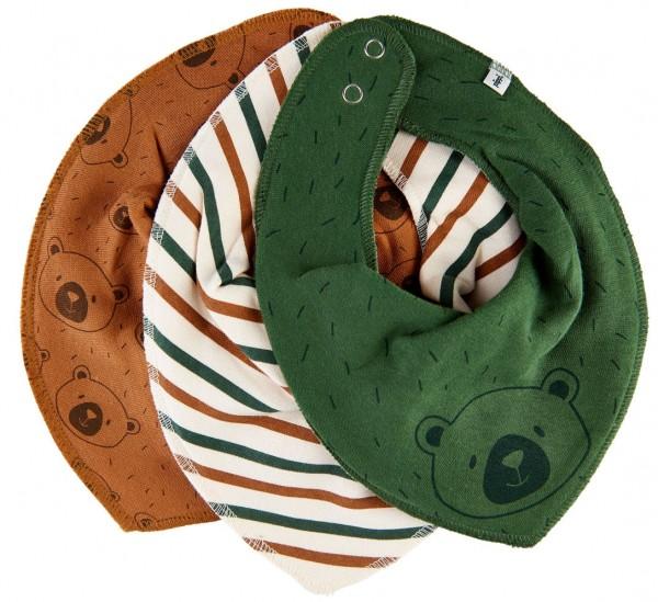 Pippi 3er Set Halstücher tannengrün Bären + Streifen