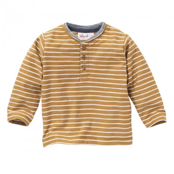 People wear Organic Langarm-Shirt Henley karamell geringelt