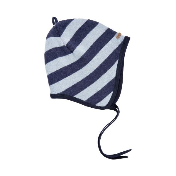 Celavi Wollmütze Blockstreifen hellblau Strickmütze mit Bändel