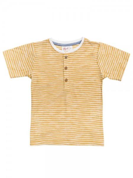 Kinder T-Shirt aus Bio-Baumwolle maisgelb geringelt
