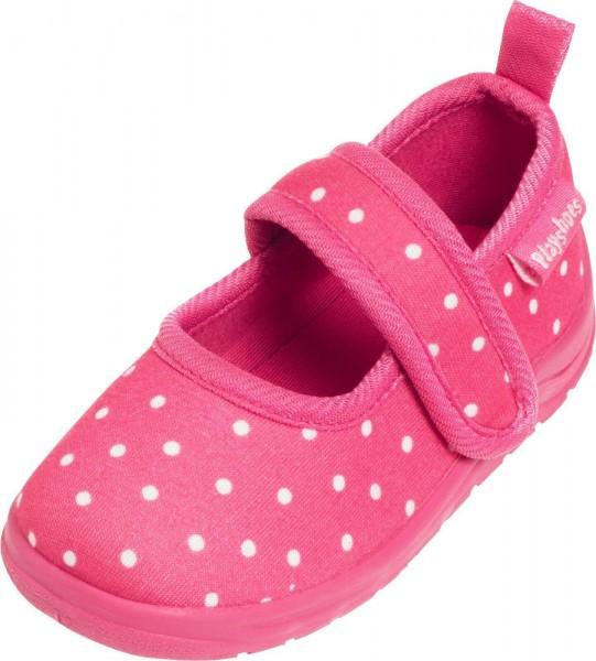 Mädchen Hausschuhe pink Dots mit Klettverschluß