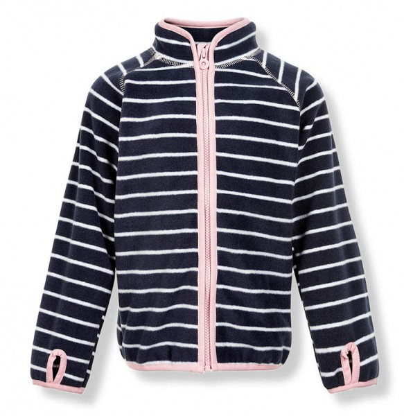 Minymo Mädchen Fleecejacke Le86 navy/weiß/rosa geringelt