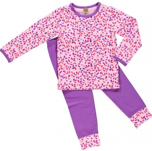 Celavi Mädchen Schlafanzug Blütenblätter lila/rosa