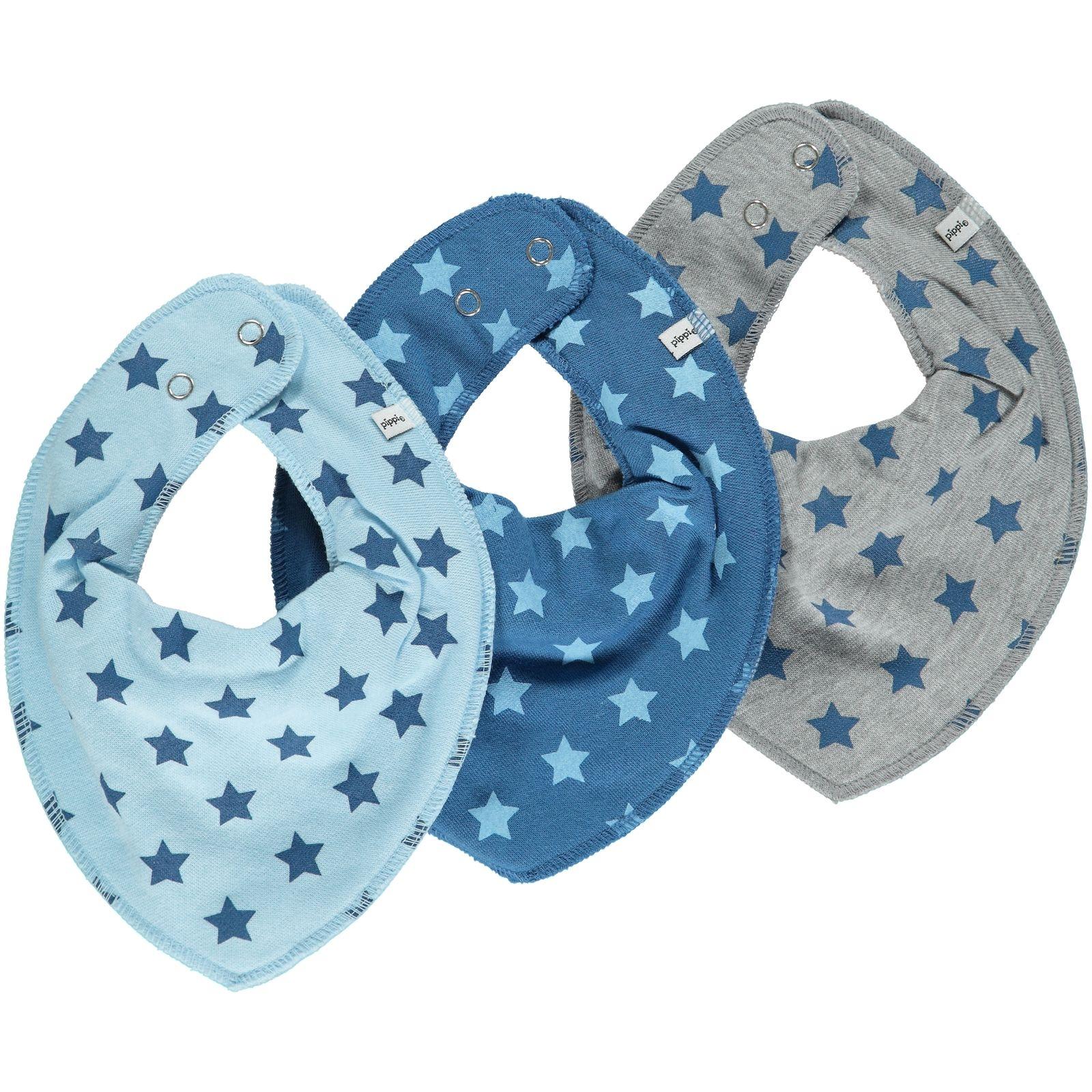 pippi Halstuch 3er Set Baby Halst/ücher Dreieckst/ücher verschiedene Designs Trecker auf jeansblau//steingrau//hellblau