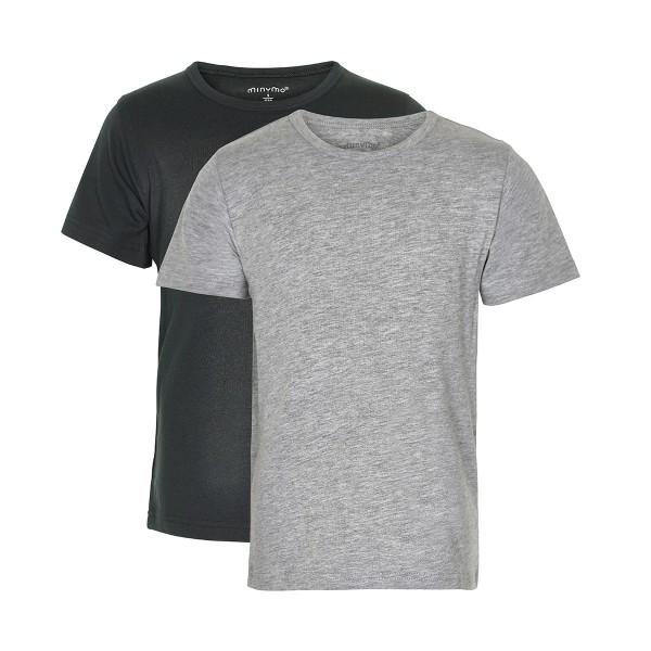 Minymo Kurzarm T-shirts Doppelpack antrazith/hellgrau
