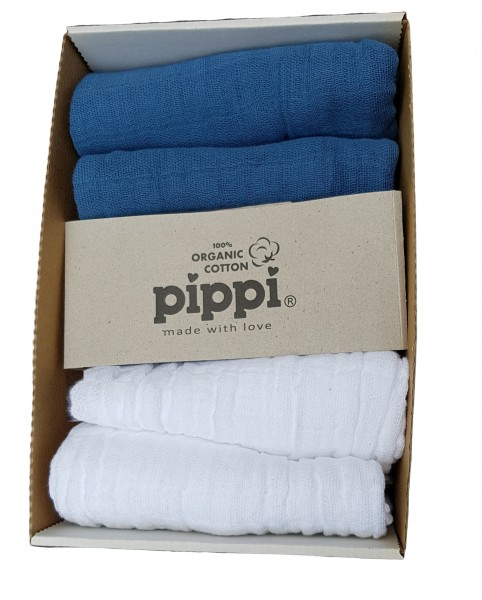 Pippi Mullwindeln Organic 4er Pack mittelblau/weiß Biobaumwolle