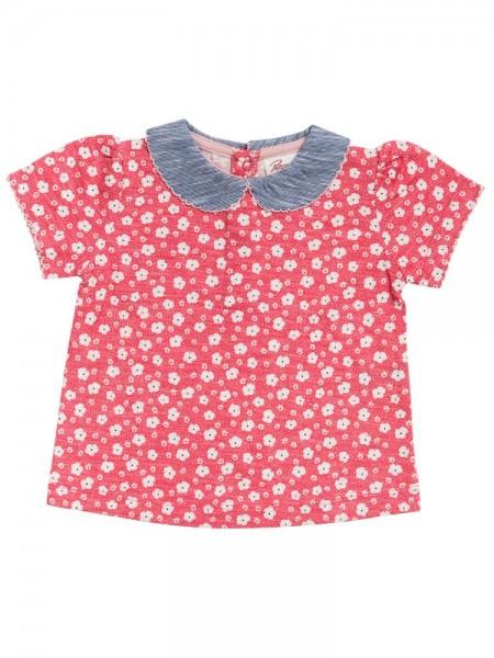 People Wear Organic Mädchen T-Shirt Blümchen hellrot Kurzarm