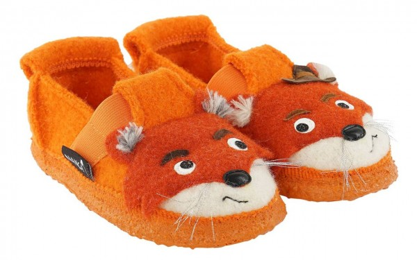 Nanga Kinder Hausschuhe Fuchs orange Schurwolle