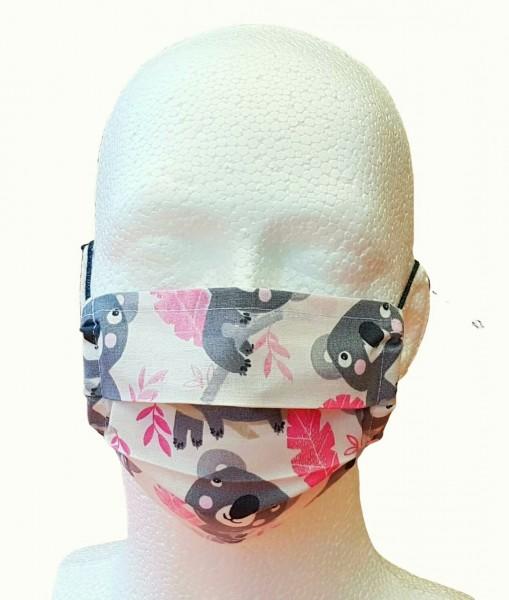 Kinder Mund-Nasen-Maske Alltagsmaske KOALA grau/rosa