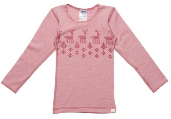 Celavi Unterhemd rosa melange mit Elch Langarm Merino Schurwolle Ökotex100